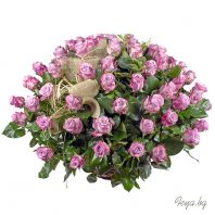 Basket with purple roses