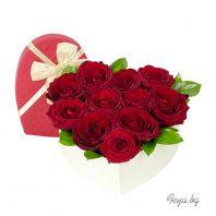 Сърце - рози в кутия